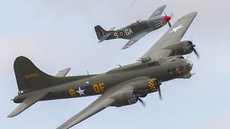 B17 Sally B escorted by a P51 Mustang. Picture: Gerry Weatherhead, www.creativeeye.me.uk
