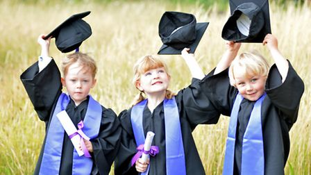 Mother Goose Nursery, Spring Common, Huntingdon, children graduating in traditional gowns and motar