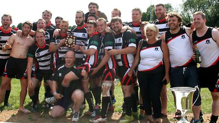 St Ives Roosters celebrate their East Plate Final success. Picture: LEIGH CHATTEN