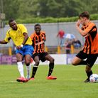 Michael Malcolm scores the Saints second goal of the evening. Picture: Leigh Page