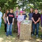 A plaque is unveiled at Godmanchester Nature Reserve.