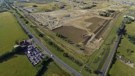 An aerial view of the Alconbury Weald site.