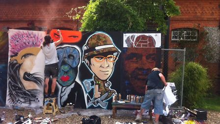 Graffiti artists at work on the tribute to Stanley Kubrick, Childwickbury in St Albans