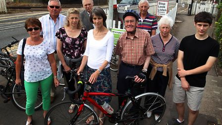 Susan van de Ven, (centre) with campaigners at Foxton level crossing