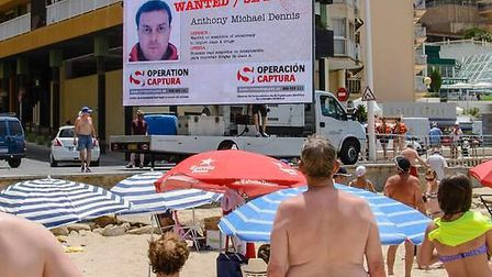 The 13ft screen was shown in ex-pat hotspots such as Malaga and Benidorm
