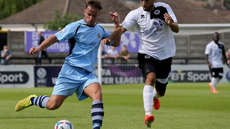 Sam Corcoran in action against Borehamwood. Picture: Leigh Page