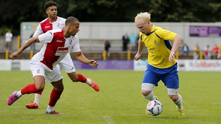 Lewis Hilliard powers into the penalty area. Picture: Leigh Page