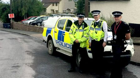 (From left to right) Royston Safer Neighbourhood Team Sergeant Guy Westwood, Chief Constable Andy Bl