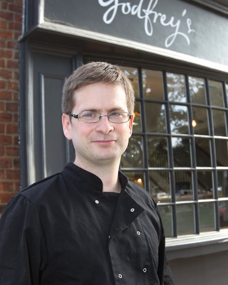 Owner of Godfrey's Luke Godfrey outside his shop in Harpenden