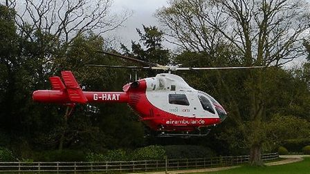 A man has been airlifted to hospital with a serious head injury after falling from scaffolding in Le