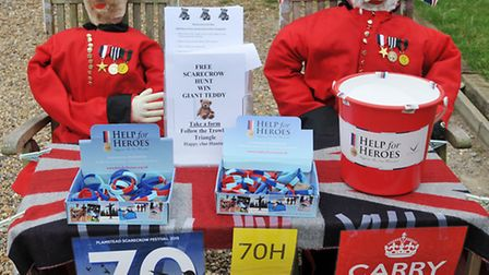 A Help for Heroes themed scarecrow display in the Flamstead scarecrow festival