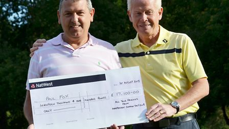 Captain, Peter Rushbrook and Paul Fox with the cheque