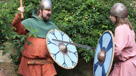 Kevin Judd, Bassingbourn, and Ulf Westin, originally from Sweden take to the swords