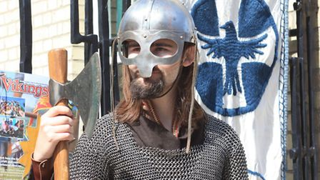 Connor Marshall, part of the Gesithas re-inactment group, which took part in the Viking Open day at