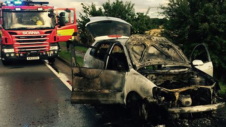 The car was destroyed during the blaze on the A14