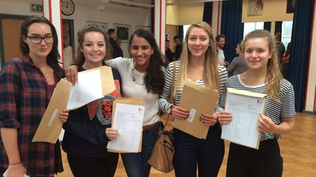 Students at Roundwood Park School opening the GCSE results