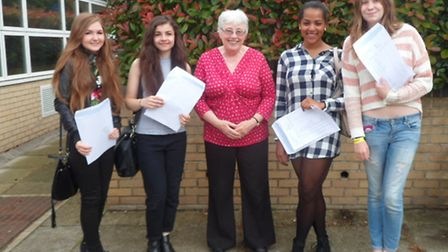 GCSE results St Albans 2015: Retiring head of English, Mrs Tinsley, celebrates GCSE results with Lor