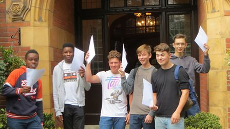 Students at St Columba's celebrating their GCSEs