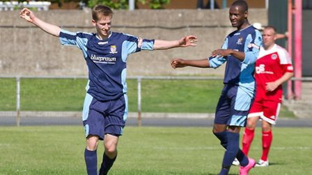 Tom Meechan struck for St Neots Town. Picture: CLAIRE HOWES (https://www.flickr.com/photos/claire_ho