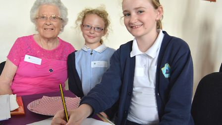 Tea party remembering end of Second World War, at Sawtry Old School Hall, pupils from Sawtry Junior