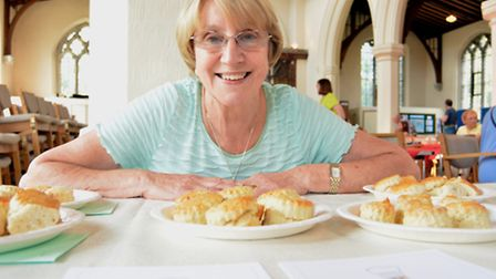 Eaton Socon Bake Off, at St Marys Church, Carole Robson, with her scones,