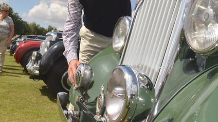 Bluntisham and Colne celebration to park end of WW2, Leon Bruyneel, from St Neots, with his Rover 16