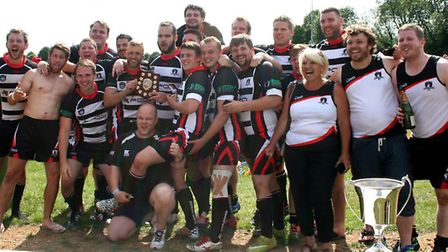 St Ives Roosters celebrate their East Plate Final success earlier in the season. Picture: LEIGH CHAT