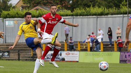 Luke Allen in action against Ebbsfleet United. Picture: Leigh Page
