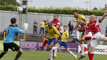 Ben Martin heads just wide of the goal. Picture: Leigh Page
