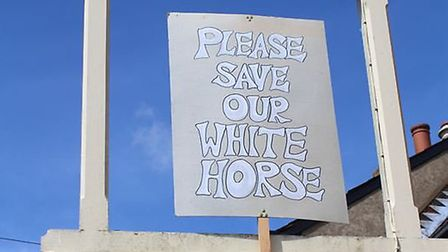 White Horse protesters and sign