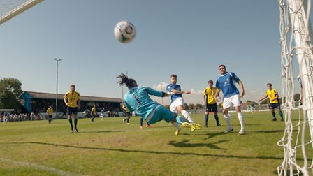 Louie Theophanous puts the ball in the net, but it's ruled out for offside. Picture: Bob Walkley