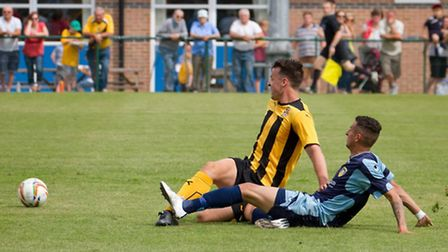 St Neots Town player Remy Gordon, pictured here in pre-season, has suffered a broken leg. Picture: C
