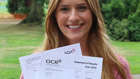 Oaklands College student Zoe Oliver is thrilled with her A-Level results