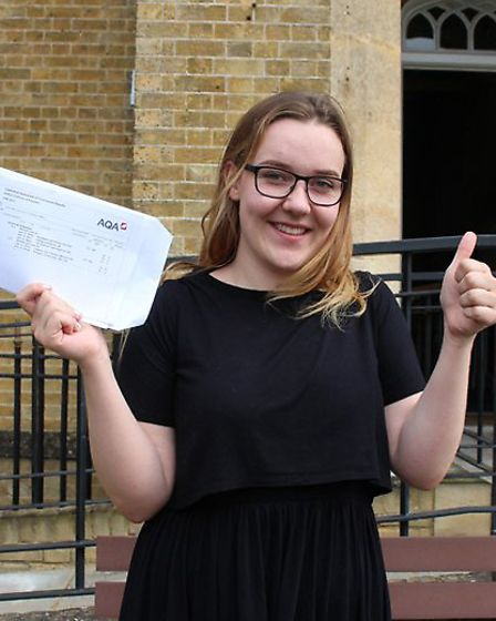 Georgia Murphy's AS-Level results are given the thumbs-up at Oaklands College in St Albans