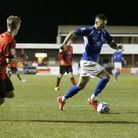 Louie Theophanus drives into the Eastbourne penalty area. Picture: Leigh Page