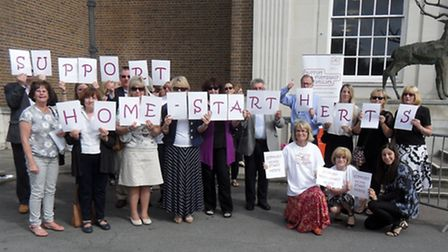 Home-Start supporters protested outside County Hall