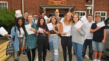 Beaumont School year 12 and 13 students with their A and AS Level results