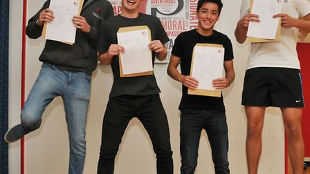 Roundwood Park year 13 students Ben Lewis, Josh King, Joe Chakraverty and Sam Spranger with their A