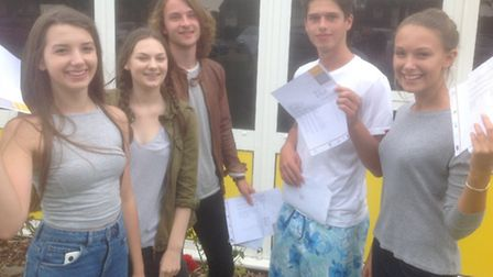 Annabel Gee, Hannah Smith, Gus Rees, Ryan Judge and Eleanor Coxall from Meridian School celebrating