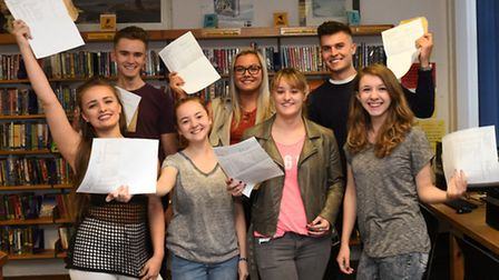 A Level Results, at Longsands Academy, (front l-r) Emily Morrey, Bethany Haynes, Katy Gibson, Shelby