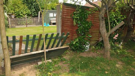 The fence in Diego Riccitelli's parents garden which has been damaged following a failed burglary