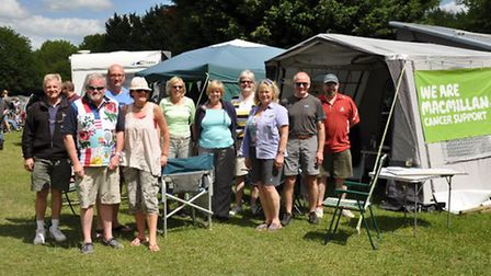 Campers gathered to raise money for Macmillan
