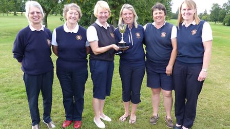 The St Ives team which won the Grace Norman Trophy are, left to right, Julie Walter, Sue Anderson,