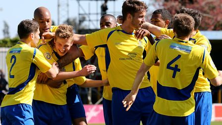The Saints celebrate Jack Green goal. Picture: Leigh Page