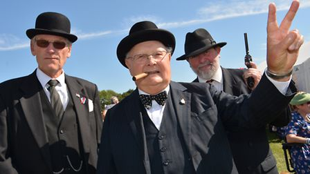Ramsey 40s Weekend, (l-r) Alec Fairbrother, Mel Baxter, as Sir Winston Churchill, and Ian Bancroft,