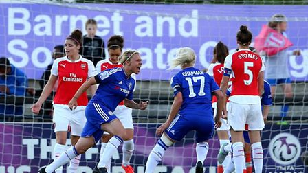 BOREHAMWOOD, ENGLAND - AUGUST 23: Gilly Flaherty of Chelsea Ladies (3L) celebrates scoring her side