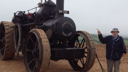Peter Woodham with the vintage steam engine.