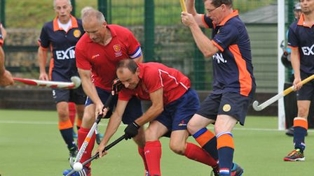 England Masters over 50's captain David Knott and Paul Nicholson come together