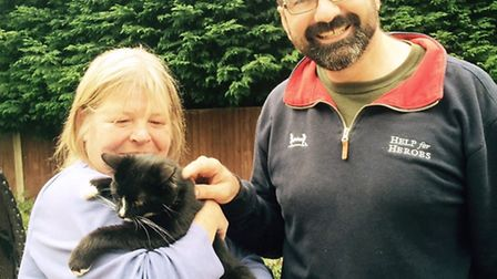 Andrea and Neil Pearson with Victor the cat.
