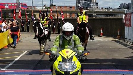 Riders representing Community Horse Patrol, CHIPS for short, at the London Tunnel toTowers event